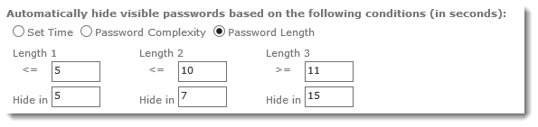 Hide Password Based on Length