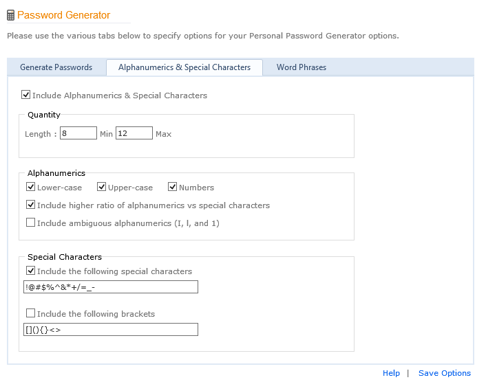 Alphanumeric Password Generator Options