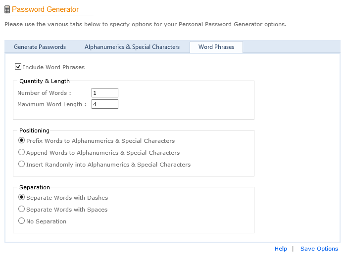 Word Phrase Password Generator Options