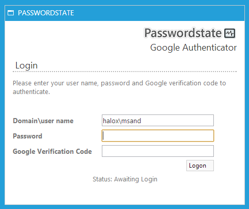 Passwordstate Google Authenticator Login
