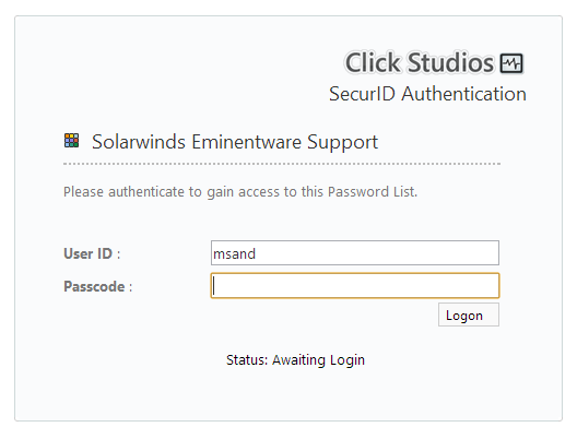 SecurID Authentication for Password Lists